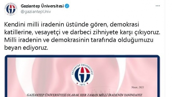 Gaziantep'teki üniversitelerden 104 amirale bildiri tepkisi